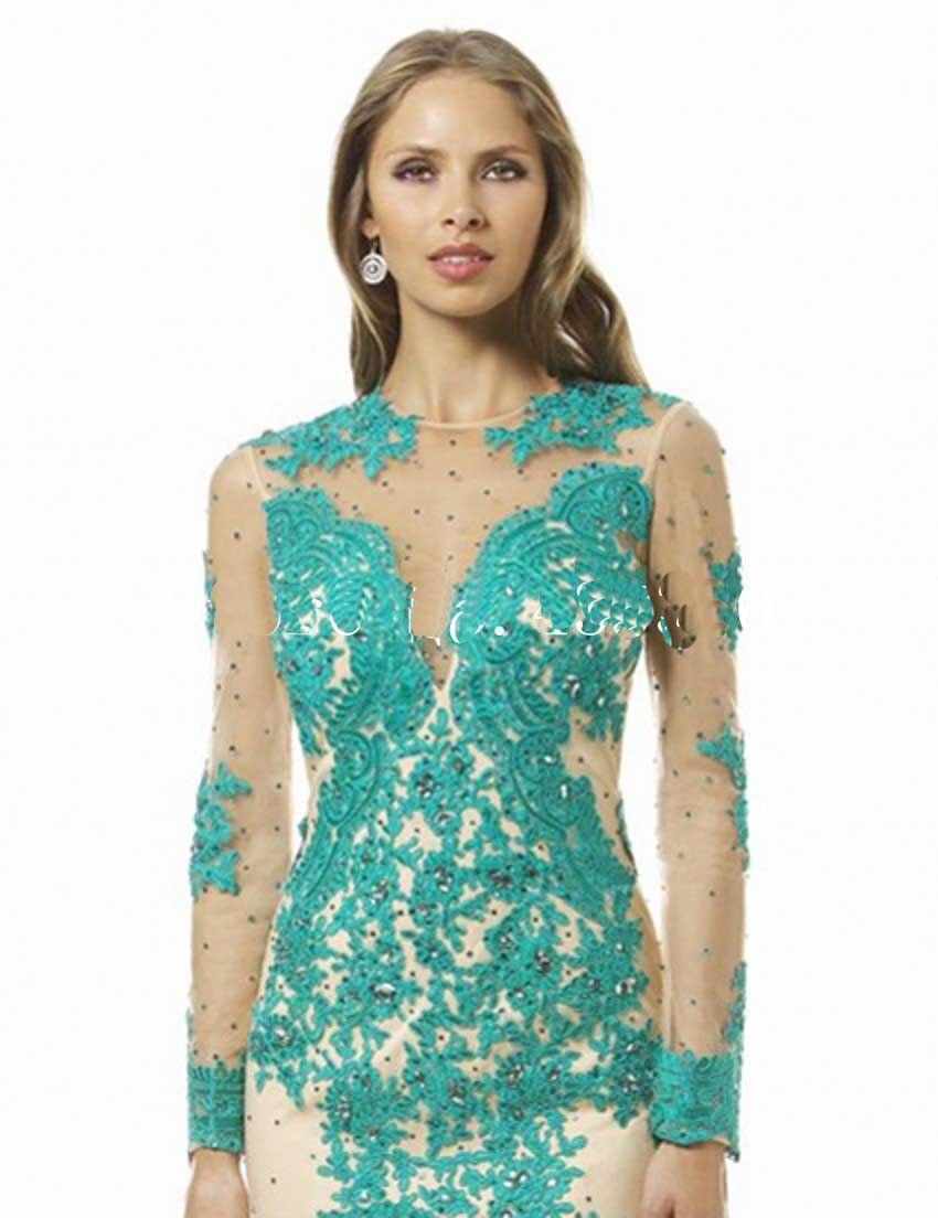 Scoop Appliques Beaded Tulle Mermaid Blue Sage Green Bridesmaid ...