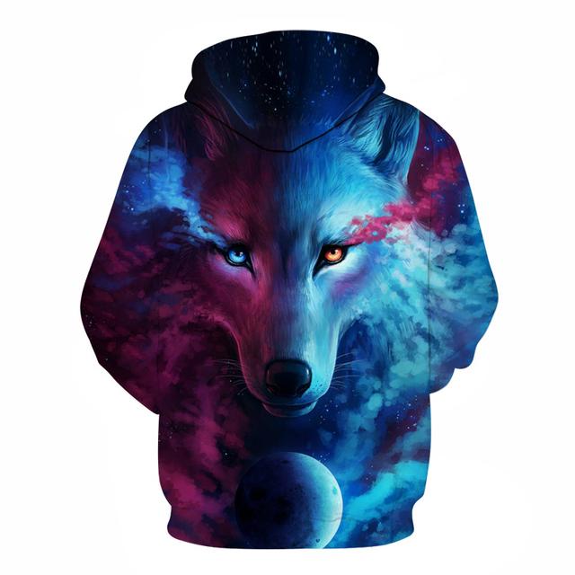 Streetwear Wolf Printed Unisex Hoodie