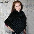 ZDFURS * Зима женская Подлинная Настоящее Трикотажные Кролика Пончо Пуловеры Треугольник шаль меховой жилет ZDKR-165001