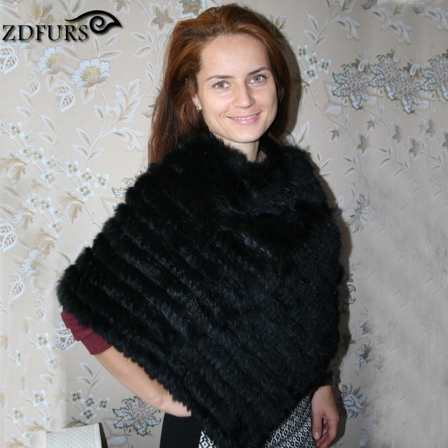 ZDFURS * Winter women's Genuine Real Knitted Rabbit Fur Poncho  Pullover Triangle fur shawl  fur vest ZDKR-165001
