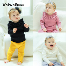 лучшая цена Baby Sweater Autumn Winter Lotus Collar Warm Knitted Clothes Pullover Children Sweater  One Piece Toddler Clothing For Girls