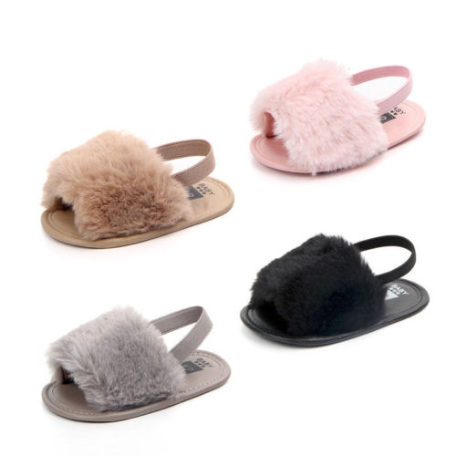 Emmababy Infant Newborn Baby Girl Cute Soft Hairy Summer Sandals Anti-slip Flip-flop Toddler Kids Shoes Prewalker Cute Slippers