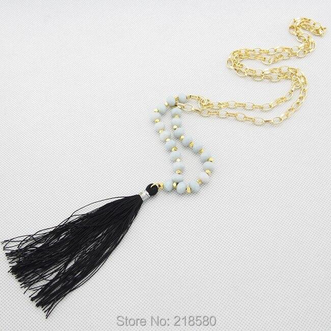 C150101014 Граненый Серый хрустальные круглые шарики ожерелье с черной кисточкой Золотая цепочка, колье 30 дюймов