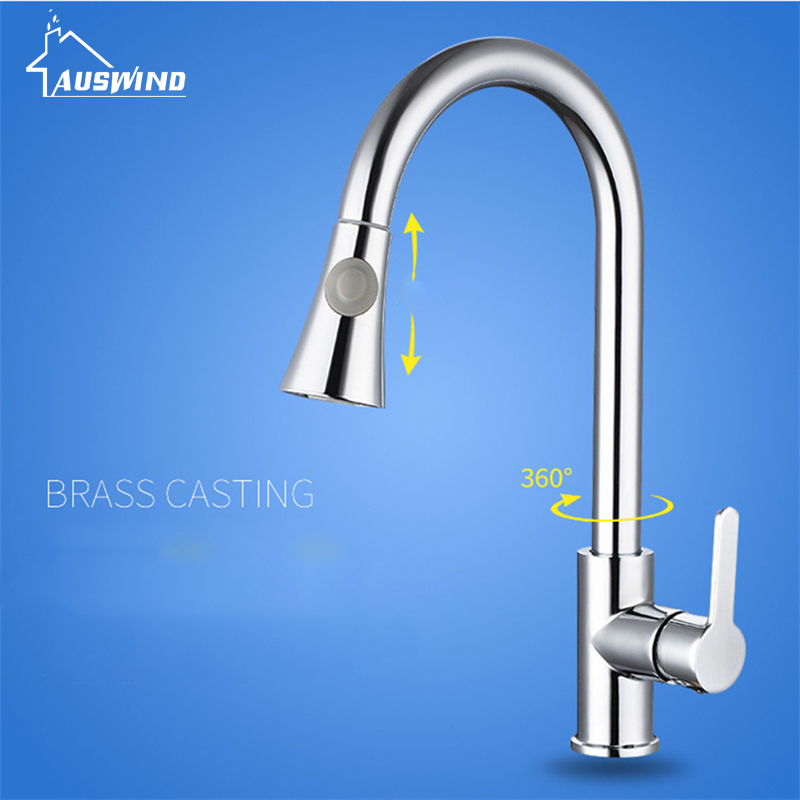 Silver Swivel Bathroom Faucet Single Handle Hole Pull Out Kitchen Faucets Brass Polished Sink Taps Hot Cold Deck Mounted polished chrome deck mounted bathroom kitchen faucet tap single handle with brass soap dispenser