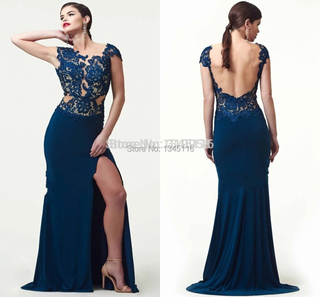 4cd396693ff Sexy Lace Appliques Mermaid Long Charming Cheap Prom Dresses Backless  Pageant Dark Blue Evening Dress For