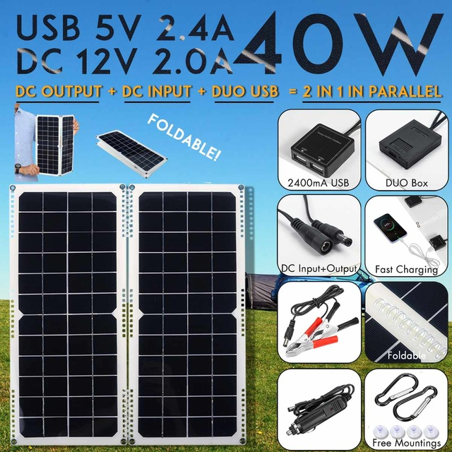 LEORY Solar Cell 40W 14V Dual Output Solar Panel with Car Charger 10/20/30A USB Controller for Outdoor Camping LED Light