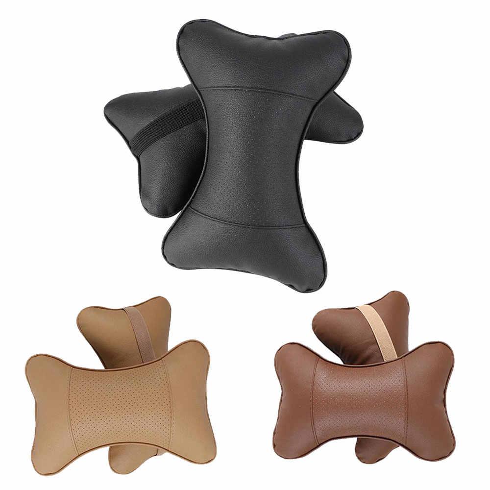 2 piezas de cuero artificial coche almohada protección tu cuello/coche reposacabezas agujero-excavación diseño/auto suministros seguridad almohada para el cuello