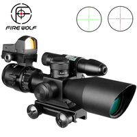 Fire Wolf 2.5 10x40 Rifle Scope Green Laser illuminated Tactical Airsoft Riflescope Sight Holographic Red Dot Sight Suit