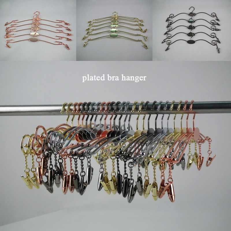 Colorful Lady bra Garment hangers 30pcs Wardrobe Storage Plated metal color Wire Bikini clothes Hanger for Bra underwear store