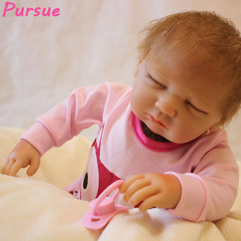 Pursue 53cm Close Eyes Soft Silicone Reborn Baby Dolls Handmade Cloth Body Reborn Babies Doll Baby Growth Partners Brinquedos partners lp cd