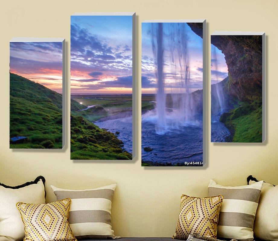 4 Pieces Set Unframed Modular Waterfall Wall Art Painting Iceland ...