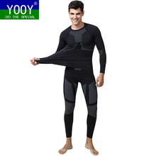 YOOY Men Ski Thermal Underwear Set Boy Quick Dry functional Compression Tracksuit Fitness Tight Shirts Sport Black Sport Suits(China)