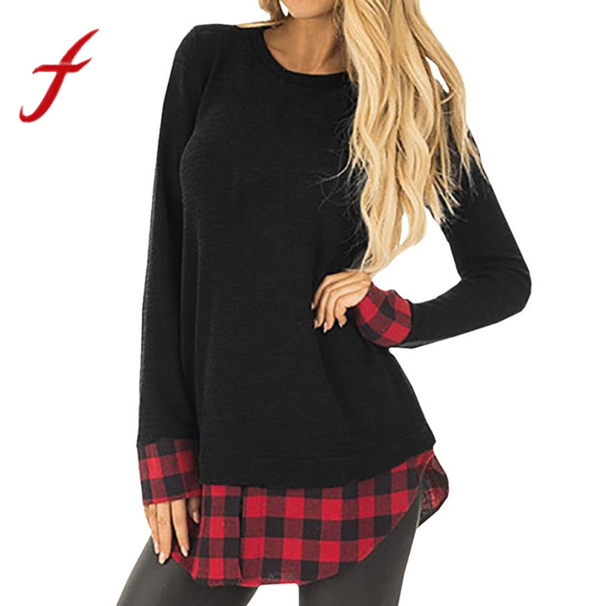 Womens t shirts casual tops long sleeve loose plaid patchwork loose pullover tee shirt femme poleras de mujer new 2018