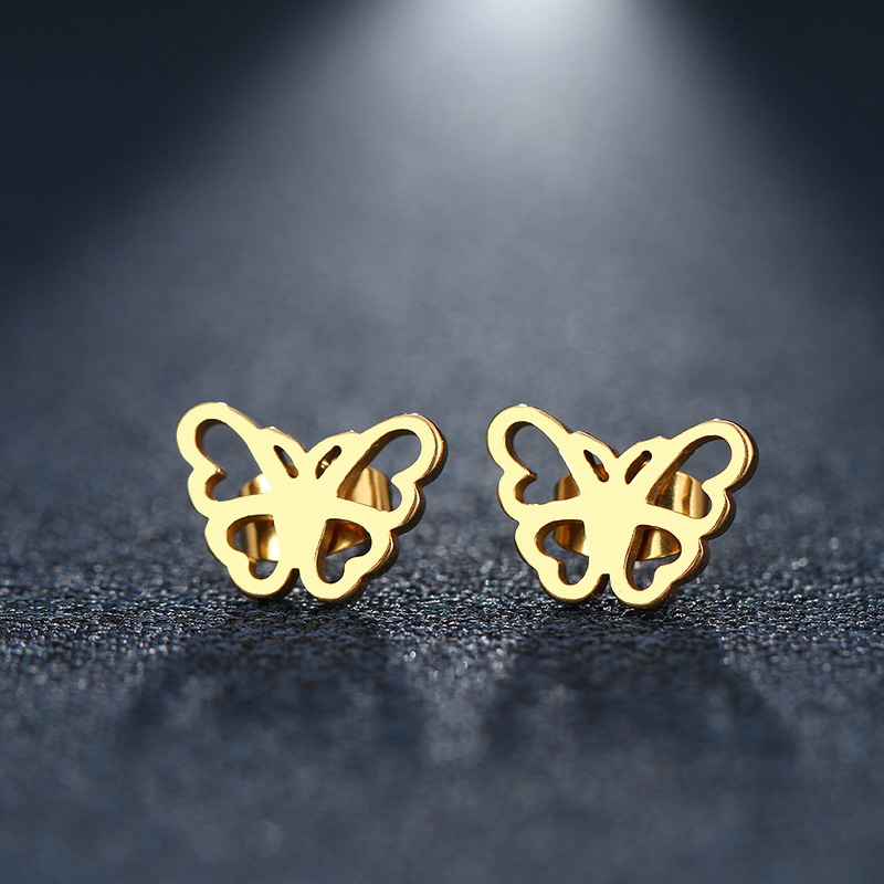 CACANA Stainless Steel Stud Earring For Women Man Heart Butterfly Gold And Silver Color Lovers Engagement Jewelry Drop Shipping