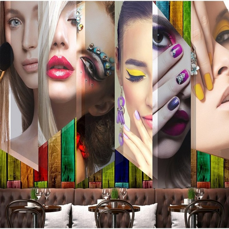 Custom photo wallpaper 3D Stereo Makeup Fresco Beauty Salon Background Wallpaper Clothing Cosmetics Embroidery Shop mural softorbits softskin photo makeup домашний фотомакияж цифровая версия