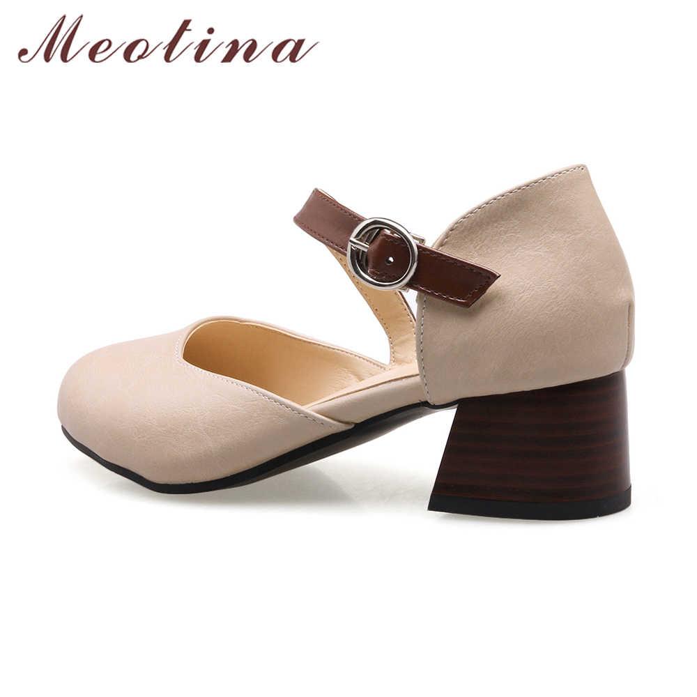 633b9f2ecc6 ... Meotina Women Pumps Thick High Heels Women Shoes Buckle 2018 Autumn  Plus Size 33-46 ...