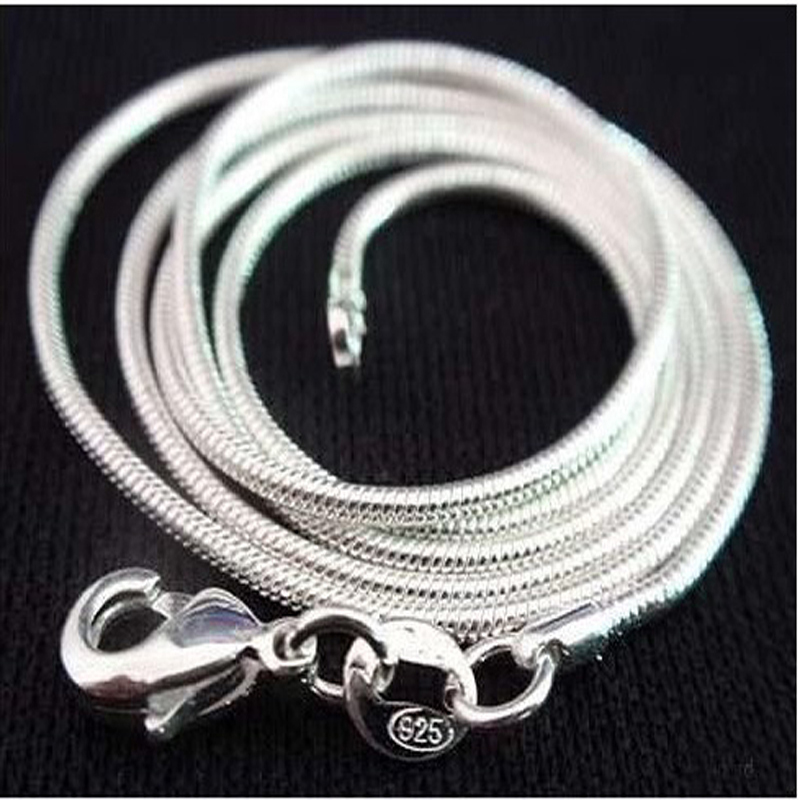 925 sterling silver necklace women, silver fashion jewelry Snake Chain 1mm Necklace 16 18 20 22 24″ 4