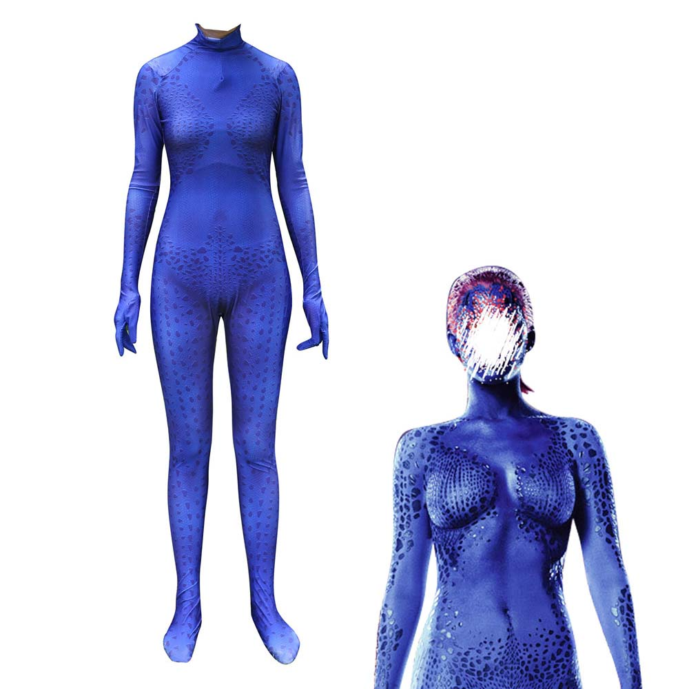 Women Girls X-men Raven Darkholme Mystique 3D Print Cosplay Costume Superhero Zentai Halloween Cosplay Costume Bodysuit