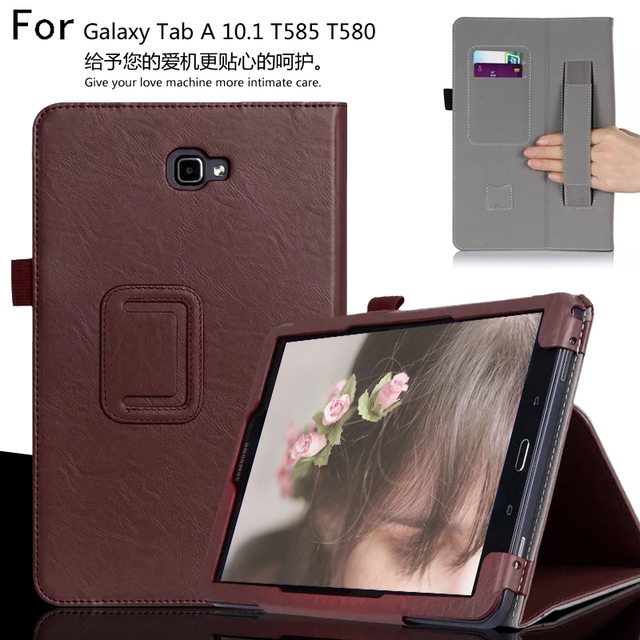For Samsung Galaxy Tab A 10.1 T585 T580 10.1 inch Tablet Luxury Leather Card Wallet Hand Strap Stand Case Cover + Film +Pen