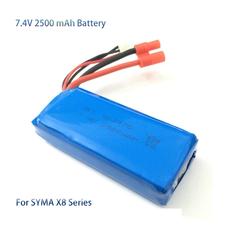 SYMA RC Drone Battery 7.4V 2500mAh 25C Li-poly Battery for SYMA X8C X8W X8G X8HC X8HW X8HG RC Quadcopter Drone Spare Parts syma x8 x8c x8w x8g mjx x600 x101 v666 rc drone li po battery charger plug multi output cable x8c rc quadcopter spare parts