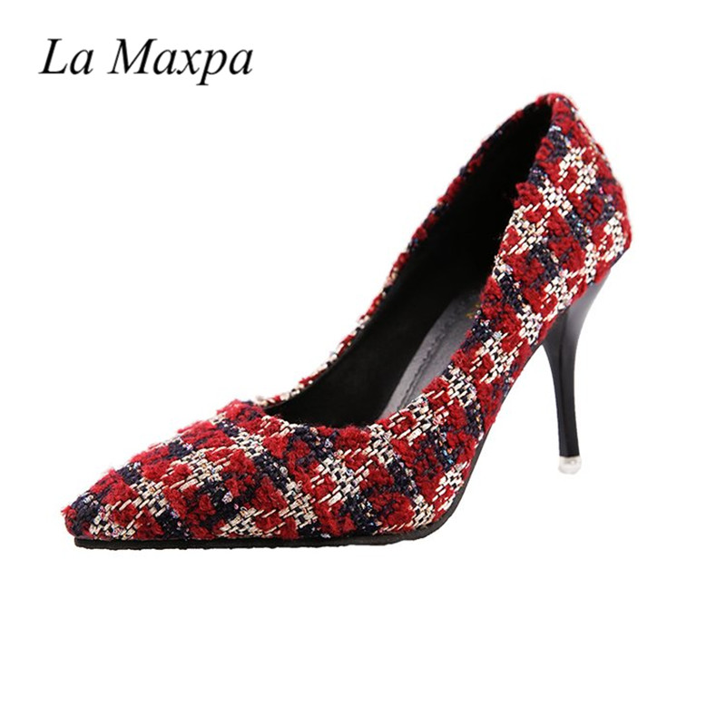 La Maxpa 2018 Spring Pumps Women Shoes Grid Back Slip On Young Lady Party High Heel Red Bottom High Pointed Toe 7cm Pumps Shoes sorbern women pumps 2018 pointed toe metal heels 10 7cm high heel ladies dress shoes slip on fashion party pumps shoes