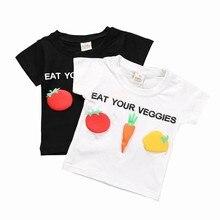 цена на 2019 Summer Veggies Print Kids Short Sleeve Boys T Shirt Girls Tops Modis O-Neck Tee T-shirt Camiseta  Children Clothes 1T-8T