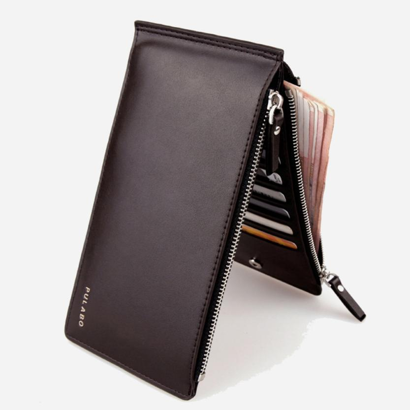 famous brand men's Wallet 2017 Men Leather Card Cash Receipt Holder Ultra-Thin Zipper Wallet Purse carteira masculina