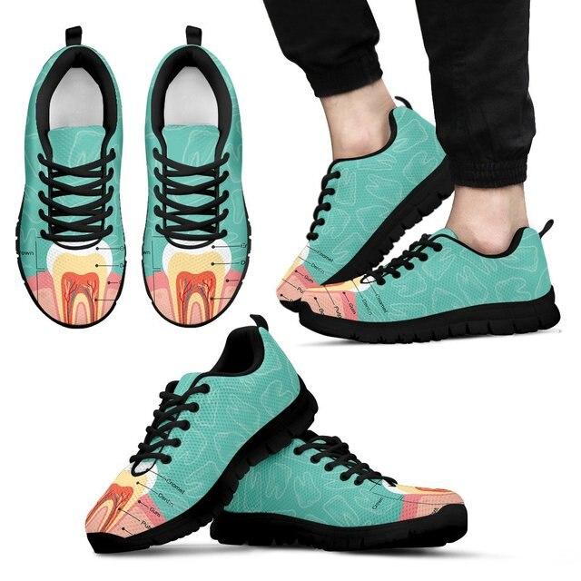 Forudesigns Women Flat Shoes Dentist Diagram Print Sneakers Casual