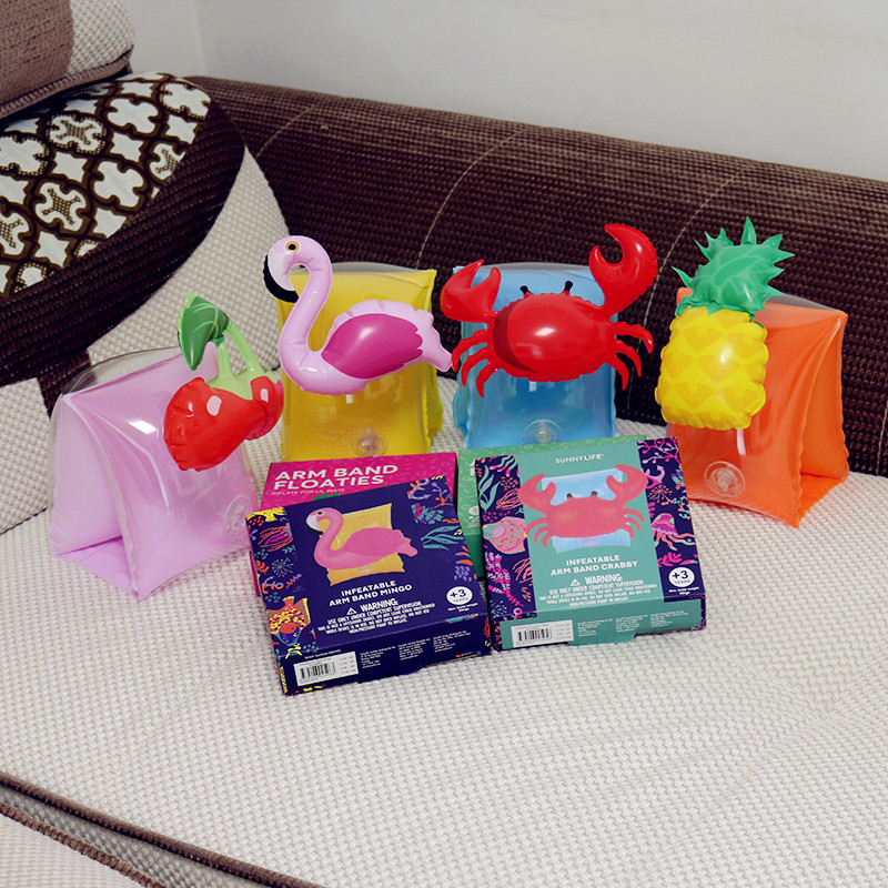 Hot Pool Float Swimming Ring Inflatable Crab Pineapple Cherry Flamingo Children Arm Circle Party Fun Toy Baby Swimming Ring New