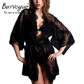 Burvogue Women Lace Lingeries Transparent Mesh Gowns Robes See Through Lingerie Sleepwear Sexy Nightwear Nightdress