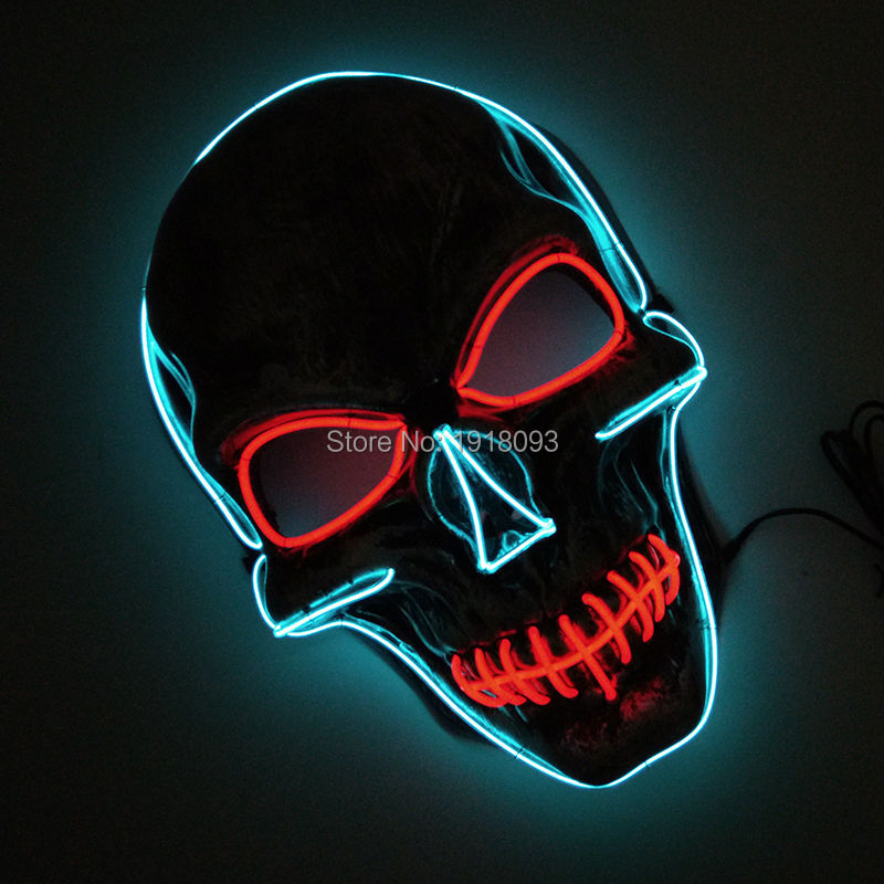 EL Wire Glowing Halloween Skull Mask Carnival Mask LED neon rope tube Festival LED Strip For Party Decoration With DC-3V airsoft adults cs field game skeleton warrior skull paintball mask