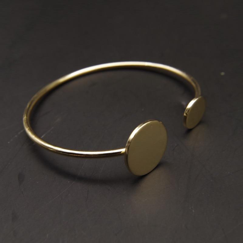 2015 fashion Rock amp Roll designer golden silver black copper round cuff bangle club women 39 s bracelet pulseiras de couro in Bangles from Jewelry amp Accessories