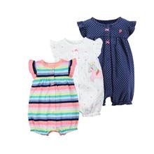 Коллекция года, летняя одежда для маленьких девочек с изображением оранжемом цельный комбинезон, одежда для малышей хлопковый короткий комбинезон, одежда для маленьких девочек roupas menina