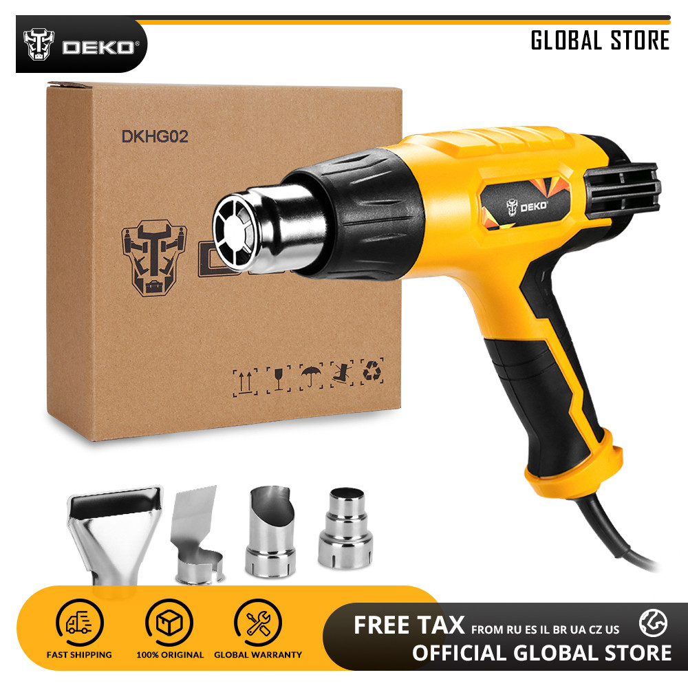DEKO DKHG02 220V Heat Gun 3 Adjustable Temperature 2000W Advanced Electric Hot Air Gun With Four Nozzle Attachments Power Tool