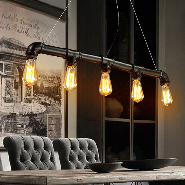 Antique five light fixtures loft industrial wine bar water pipes antique five light fixtures loft industrial wine bar water pipes pendant lightadjustable handing mozeypictures Image collections
