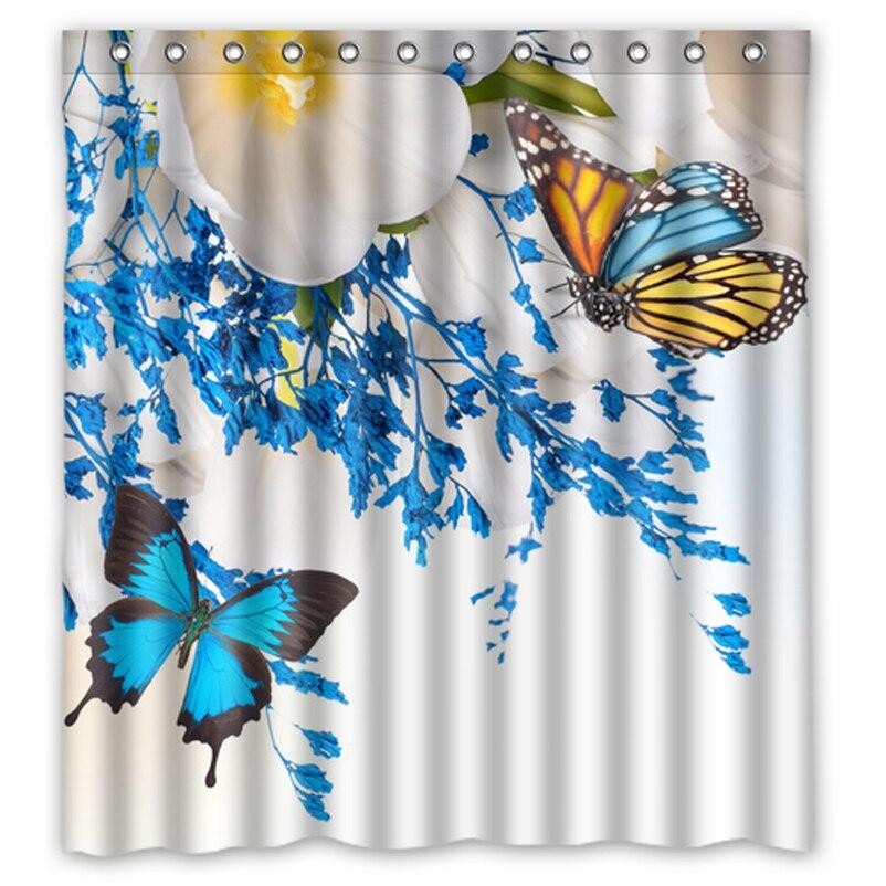 Blue Butterfly White Flower Custom Design Bath Bathroom Curtains Waterproof Shower Curtain Size