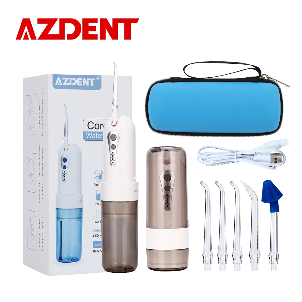 AZ-007 Cordless Oral Irrigator Portable Water Dental Flosser With Travel Case Rechargeable Battery 4 Modes Nose Clean 5 Jet Tips azdent fashion 4 modes portable fold electric oral irrigator usb charging water dental flosser rechargeable 200ml 5 jet tips