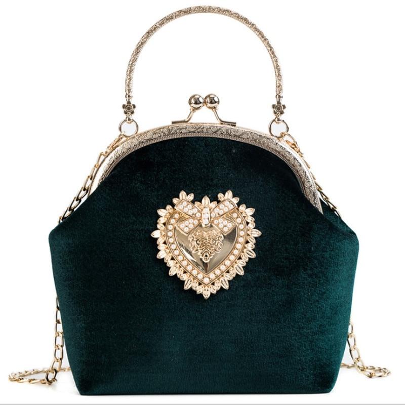 Female Pearl Handbag Vintage Velour Heart Design Evening Bag Wedding Party Bride Bag Purse