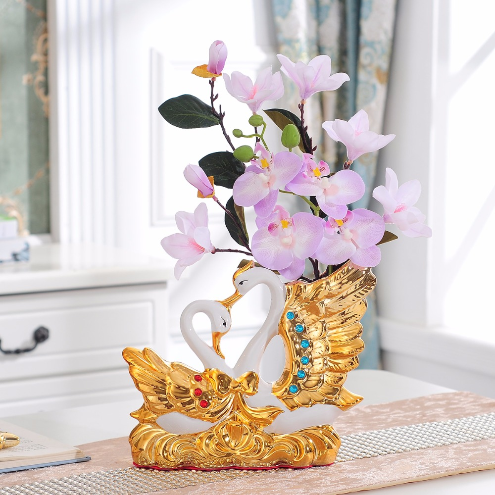 Swan home decor vase decoration accessories for flowers ...