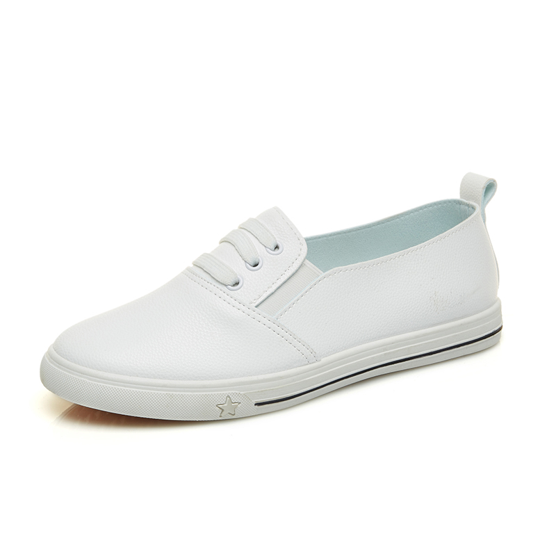 2018 Spring And Summer New White Shoes Women Fashion Flat Leather Canvas Shoes Female White Board Shoes Casual Shoes blue and white canvas anti static shoes esd clean shoes pharmaceutical shoes work shoes add cotton