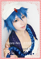 Free Track Anime Magi Aladdin Long Blue Full Lace Cosplay Wig Without Accessories Costume Heat Resistant + Cap