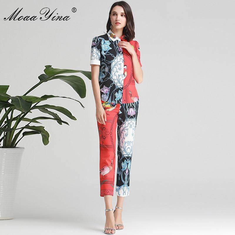 Kadın Giyim'ten Kadın Setleri'de MoaaYina Moda Tasarımcısı Seti Yaz Kadın Kısa kollu mandalina ördek Boncuk Baskı Gömlek Tops + kalem pantolon Iki parçalı takım elbise'da  Grup 2