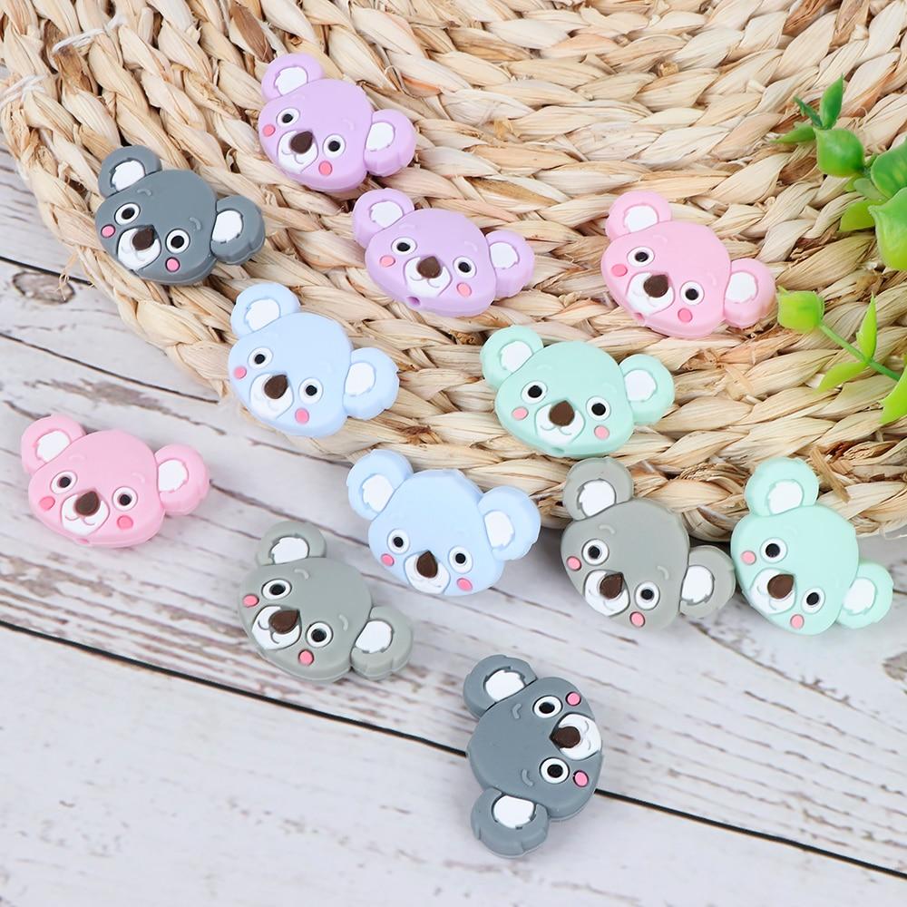 10pc Mini Silicone Teether Beads Koala Shape Food Grade Silicone  Beads Bpa Free DIY Baby Teething Necklace Rodents Nursing Gift