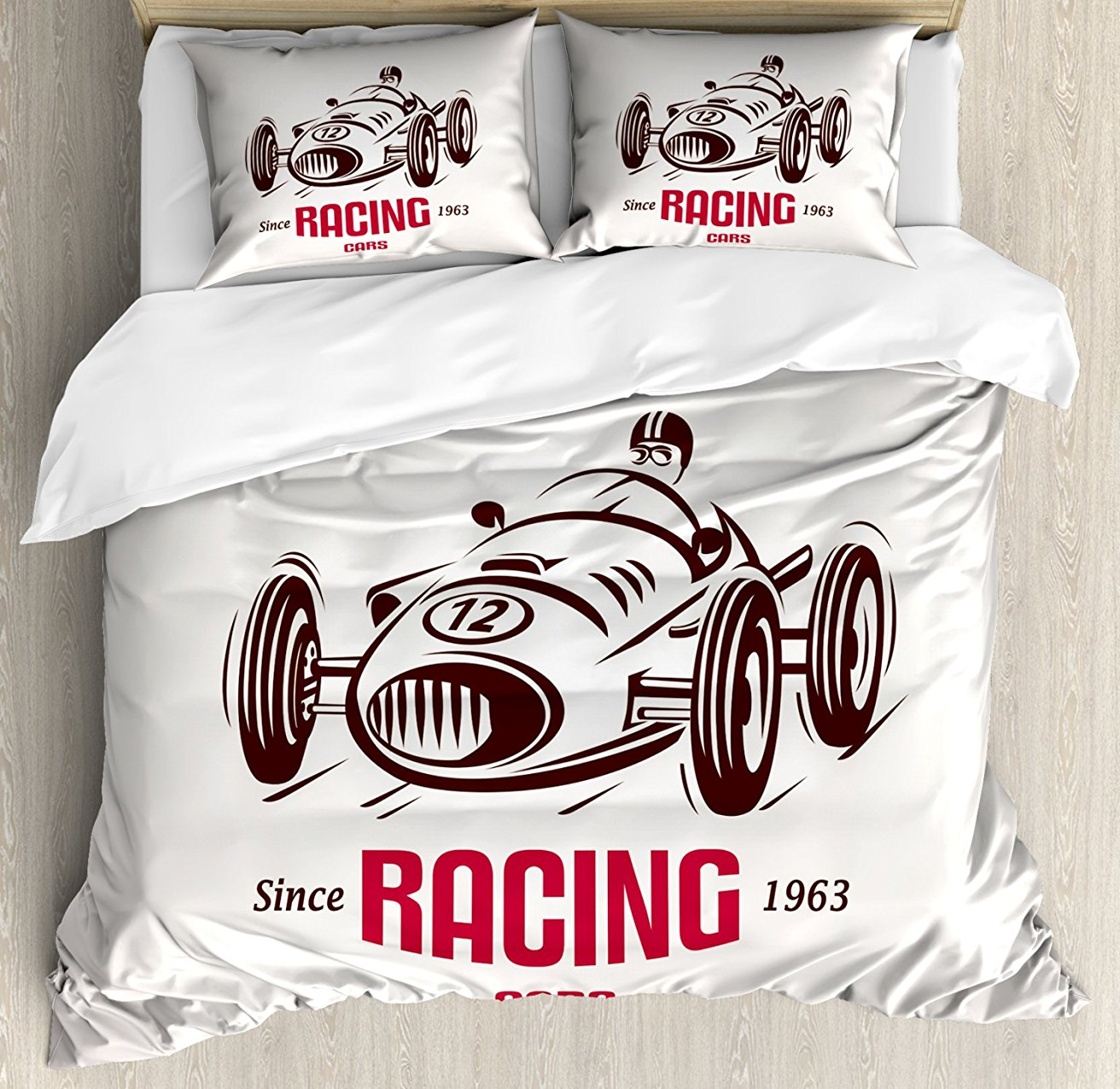 Cars Duvet Cover Set Retro Style Race Car Emblem Formula Automobile Icon Speed Competition Decorative 4 Piece Bedding Set