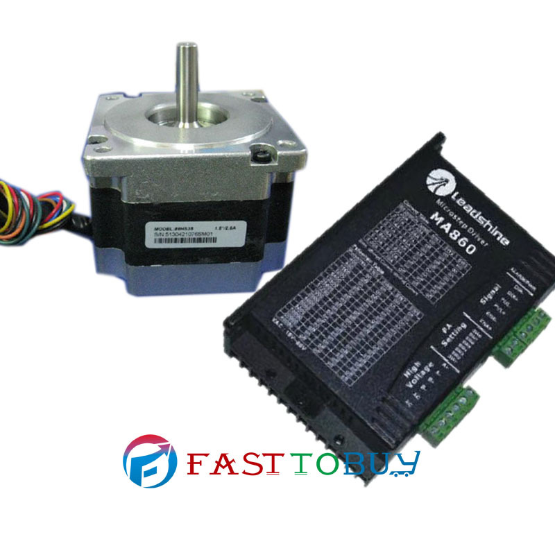 Cheap China NEMA34 86mm 500ozin 3.5NM 24-80VDC 2-phase Stepper motor Drive kits 86HS35+DM860 toothed belt drive motorized stepper motor precision guide rail manufacturer guideway