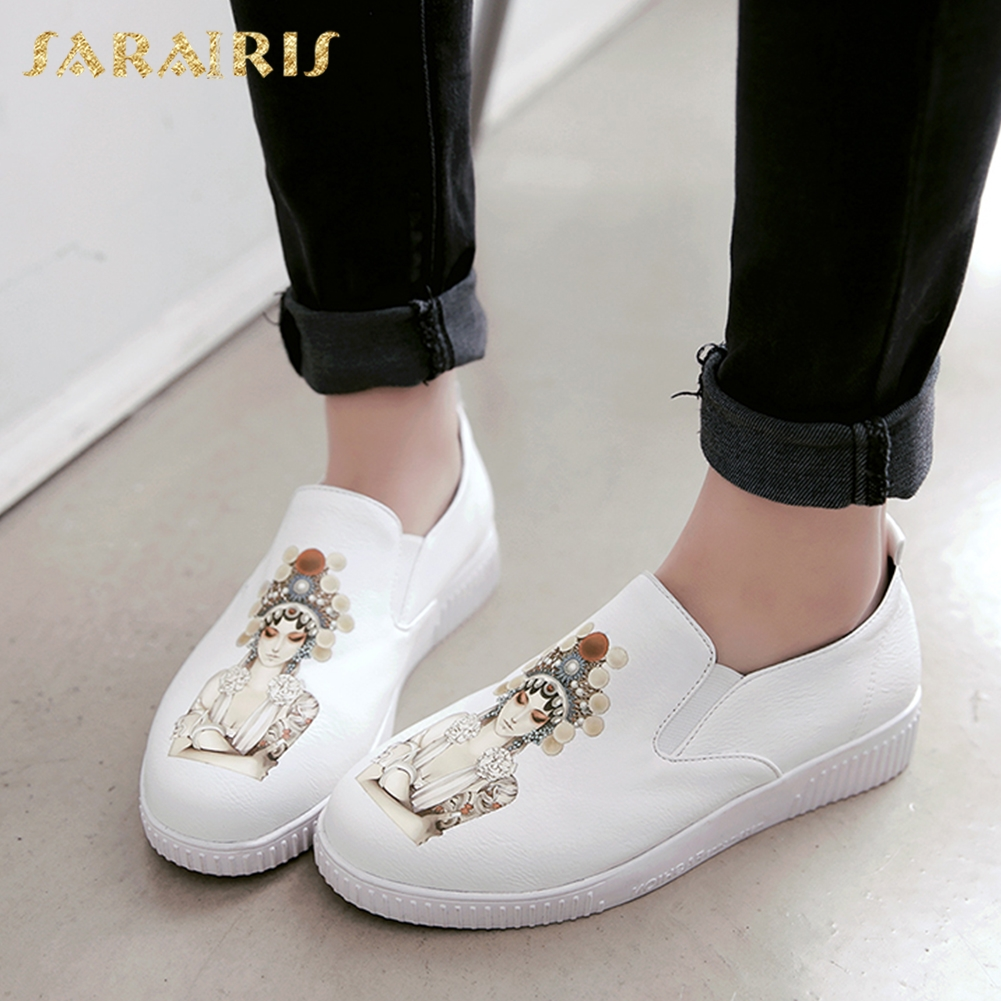 SARAIRIS New Plus Sizes 34 43 leisure printing girls causal flats shoes women fashion loafers women's shoes woman