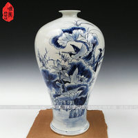 Ceramics antique vase full blue and white porcelain floor vase