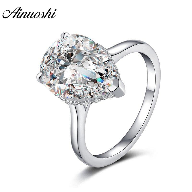 AINOUSHI luxe 925 en argent Sterling Solitaire anneaux de fiançailles mariage 5 Carats en forme de poire anneaux goutte d'eau cadeaux anillos plata