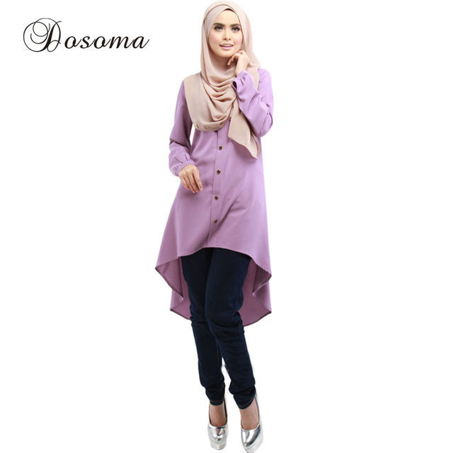 Dress Shop Shirt Cottom Top Musulmano Hijab Moda Casual Donna Online 8w0xqdAp8