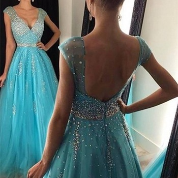 Blue Muslim Evening Dresses 2019 A-line Cap Sleeves Tulle Beaded Crystals Islamic Dubai Saudi Arabic Long Evening Gown Prom